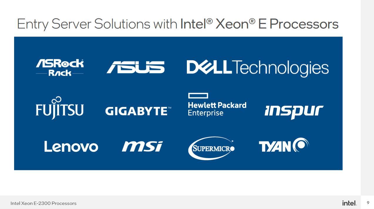 Intel Xeon E-2300 partners