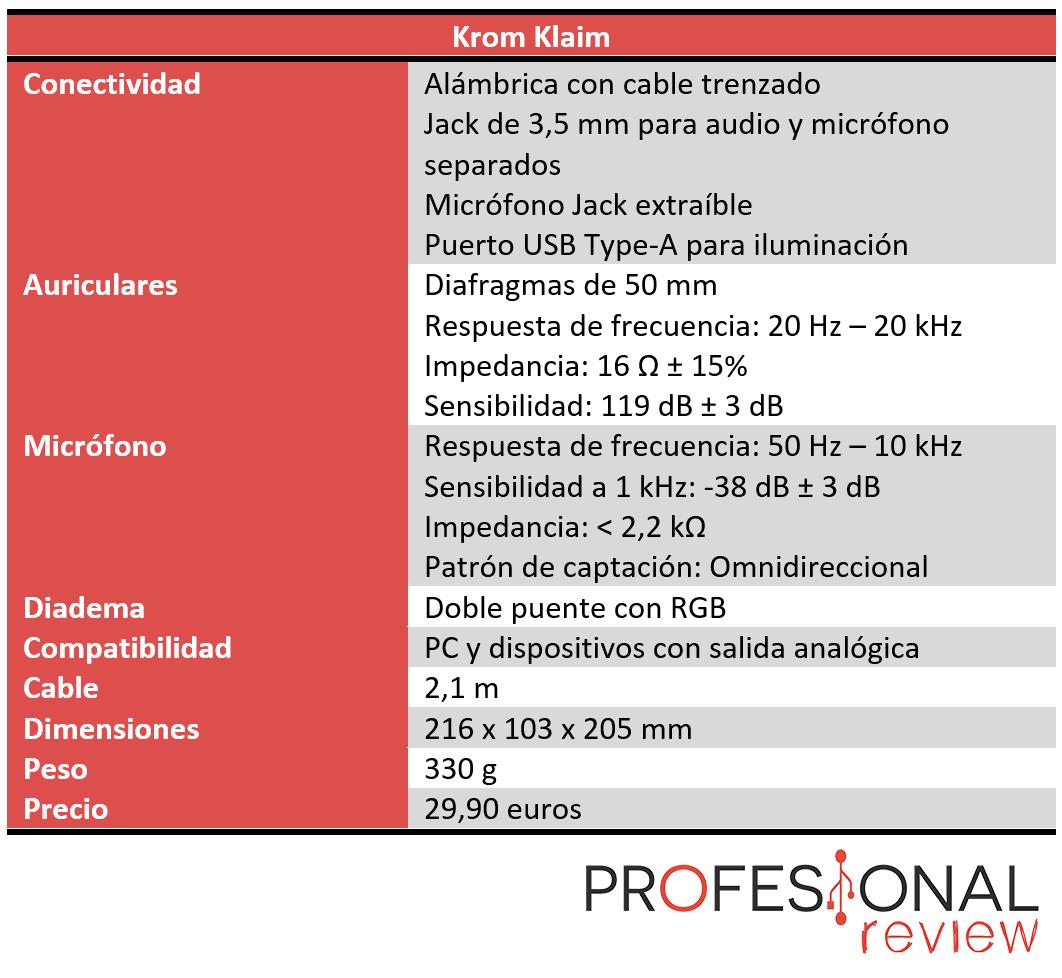 Krom Klaim Características