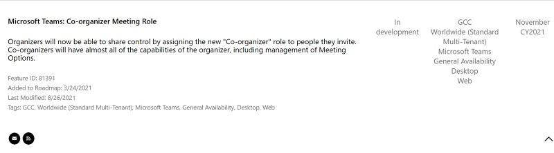 Microsoft Teams co organizador reuniones