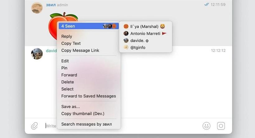 Telegram confirmacion lectura chats grupales